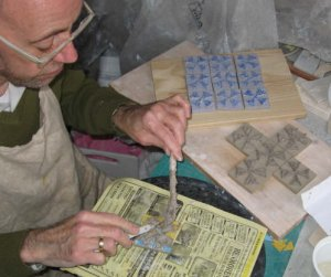 Godfrey at work making tiles